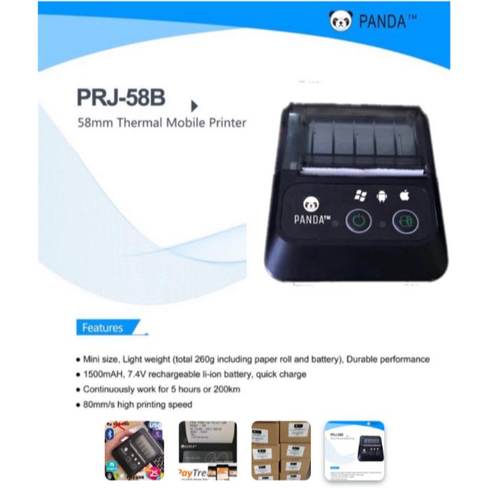 Mobile Printer Bluetooth PANDA PRJ-58B 58MM (USBa & Bluetooth)